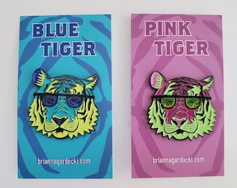 Pink and Blue Tiger Soft Enamel Pin   Jacket Pin   Artist Pin   Gifts Under 20   Gifts for 10