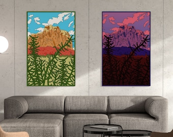Ghost Ranch New Mexico Landscape Day and Night Art Print