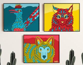New Mexico Enchanted Desert Animals Art Prints