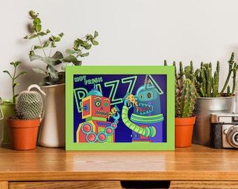 Robots Eating Pizza Art Print