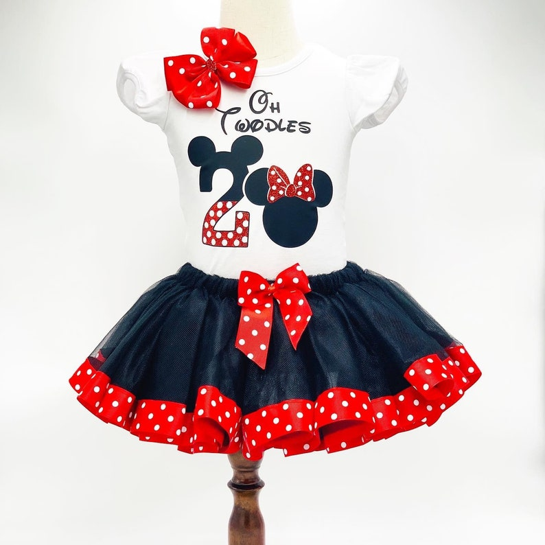 Minnie Birthday Outfit With Black Trim Tutu and Red Polka Dot Ribbon Minnie Red Glitter Bow  Personalize Birthday Name and Number Outfit