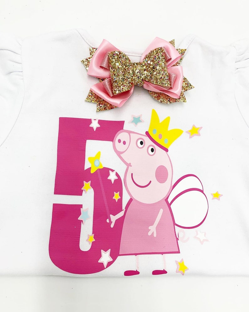 Peppa Pig Birthday Shirt Personalize Name and Number Peppa Pig  Bday Shirt  Peppa Pig Character Peppa Pig Fairy Peppa Pig Bday Theme