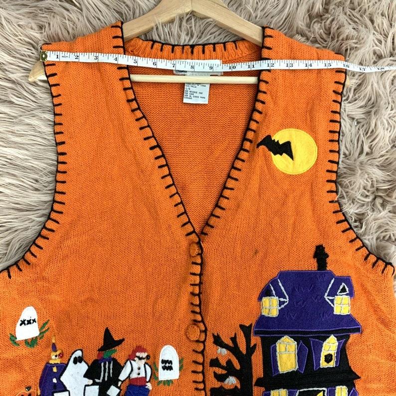 Large Halloween Vest ghost bat black cat spider web moon stars autumn C015