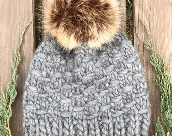 Hand Knit Wool Chunky Beanie   Womens Winter Hat   Faux Fur Pom Beanie   Gray Knit Wool Beanie    Gift for Her