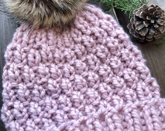 Hand Knit Chunky Beanie   Womens Winter Hat   Knit Beanie with Pom   Fall Hat   Pale Pink Beanie   Valentine Gift for Her