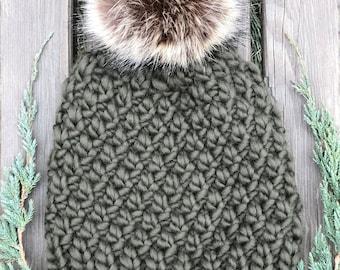 Hand Knit Wool Chunky Beanie   Womens Winter Hat   Faux Fur Pom Beanie   Dark Olive Green Wool Beanie    Gift for Her