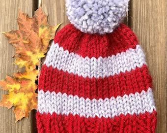 Hand Knit Chunky Beanie   Womens Winter Hat   Knit Beanie with Pom   Fall Hat   Chunky Striped Beanie   Preppy Beanie   Red & Gray Beanie