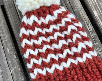 Hand Knit Newborn Beanie in Fall Colors   Infant Beanie with Pom Pom  Newborn Gift   Newborn Photo Prop   Newborn Coming Home Accessory