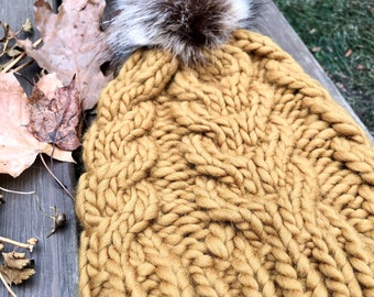 Hand Knit Wool Chunky Cabled Beanie   Womens Winter Hat   Knit Beanie with Faux Fur Pom   Fall Hat   Wool Beanie