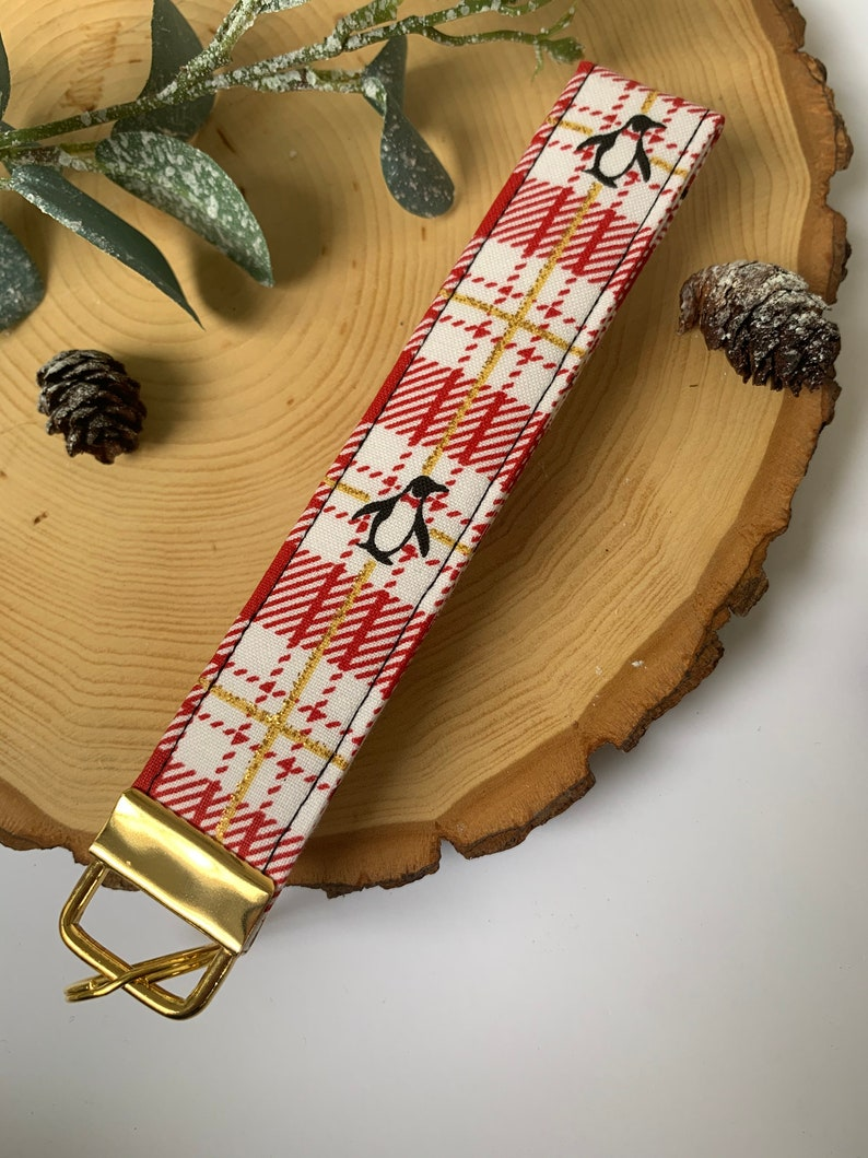 stocking stuffers gifts for her Holiday Penguin key fob wristlet gifts for kids
