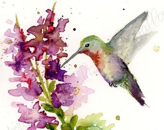 Hummingbird Watercolor Painting, Hummingbird Watercolor Print, Wall Art, Nature Print