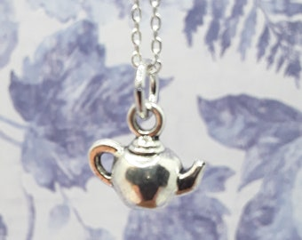silver coloured beaded floral teapot pendant novelty jewellery teapot necklace