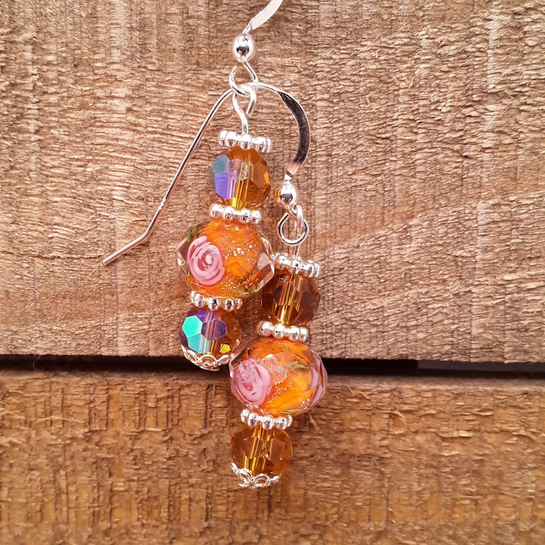 Crystal Earrings Lovely Faceted Floral Peach Colored Lampwork and Crystal Sterling Silver Earrings Mother/'s Day Gift