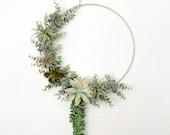Succulent wreath, Air plant wreath, Boho wreath, Hoop wreath, Spring wreath, Summer wreath, Neutral wreath, Boho wall hanging, Boho wall art