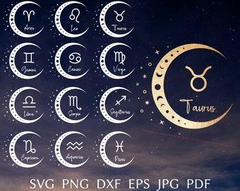 Zodiac SVG Bundle, zodiac sign svg cut file for cricut, Astrology svg design for shirt, Horoscope sign svg, png, eps, dxf