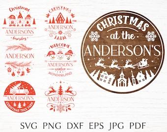 Christmas sign svg bundle, family split monogram svg cut file for cricut, door hanger svg, Christmas door sign svg, family name clipart