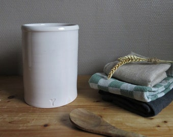 Handmade ceramic utensil pot, Holder, White, Minimalist, Elegant, Boho, Farmhouse, Scandinavian, Cooking, Home, Simple, Country, Traditional
