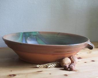 french style bowl,handmade ceramic bottle green glazed