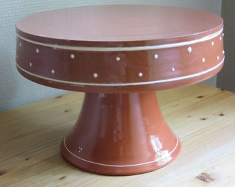 Handmade ceramic cake stand, Footed plate, Lifter, Red clay, Minimalist, Farmhouse, Scandinavian, Home, Elegant, Table, Boho, Serving