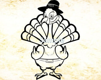 Turkey giving the bird - Just in time for Thanksgiving.  Great for pocket t-shirts too.