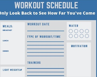 7 Day Workout Planner for Comparison - Compare your workouts, make notes and keep track of your weights and motivation!