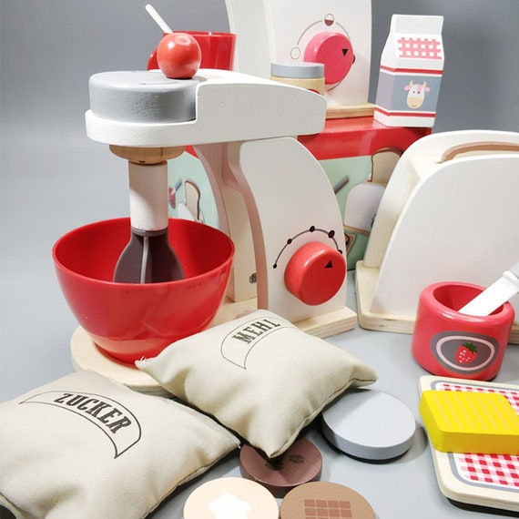Set with toaster Breakfast Wooden play kitchen Blender