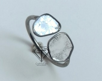 Genuine Diamond Ring uncut Diamond Ring 0.95 C.T Natural Polki Ring 925 Sterling Silver Ring Rose Cut Diamond Ring