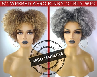 """TAPERED AFRO KINKY Curly Wig with Realistic Afro Hairline, 8"""""""