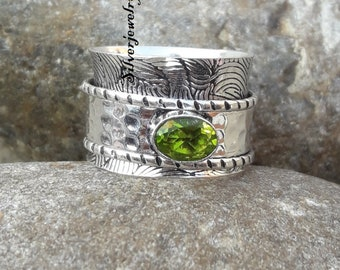 Peridot /& Smoky Quartz Ring Taxture Rings Natural Two Gemstone Ring Solid 925 Sterling Silver Jewelry Star Spinner Ring Handmade Rings