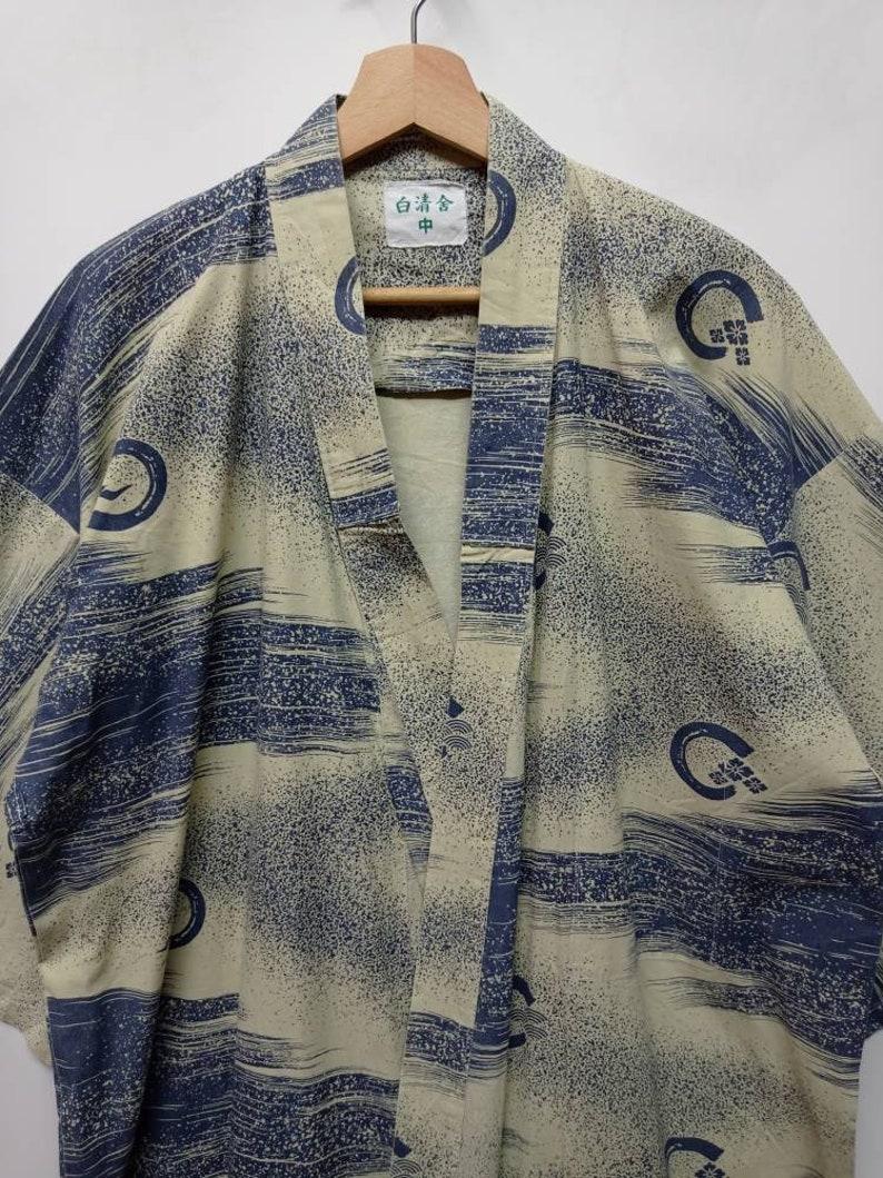 Vintage Geometric Kimono Haori Floral Noragi Jinbei Embroidery Full printed Japanese Traditional streetwear menswear Size L-XL