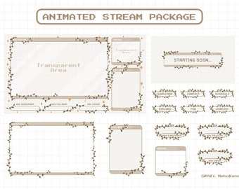 Animated Stream Overlay Package for Twitch, Aesthetic Brown Coffee Color, Cute Plant Cozy Theme Overlay, Kawaii Twitch Overlay Package