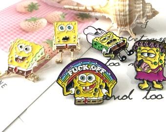 SpongeBob Pin Badge Hard funny Soft kawaii Enamel Pin Brooch fashion accessories collar pin hat pins for Backpacks Jeans animal lapel pin