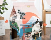 Japanese Sake Carton Cardboard Cat House Scratcher