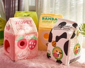 Cute Japanese Style Milk Carton House for Cats Soft Cozy Cat Bed