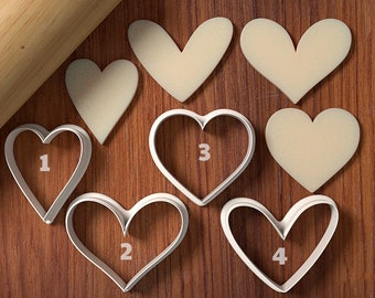 Rustic Hearts Cookie Cutter set - Cookie Cutter and Fondant Cutter and Clay Cutter