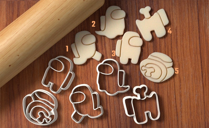Among Us Cookie Cutter Set  Cookie Cutter and Fondant Cutter image 0