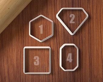 Gemstone Cookie Cutter Set - Diamond - Emerald - Cookie Cutter and Fondant Cutter and Clay Cutter