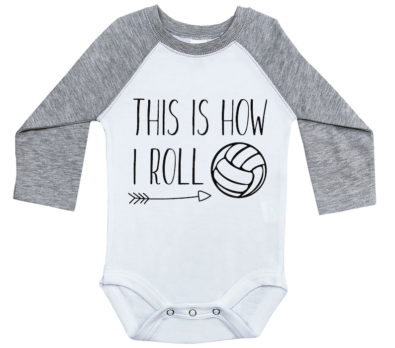 Baby Shower Gift Infant Long Sleeve Newborn Baby Outfit Raglan Onesie Funny Volleyball Onesie Onesie THIS Is How I ROLL VOLLEYBALL