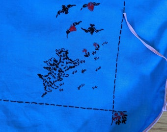 Vintage blue card table tablecloth ties embroidered scotty dogs
