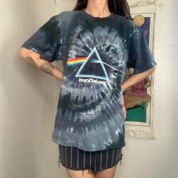 Vintage Y2K Liquid Blue Pink Floyd Tie Dye Graphi… - image 2