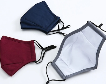 Anti Fog Face Mask for People who Wear Glasses   Washable Face Mask with Nose Wire   3 Layer Face Mask with Filter Pocket Adjustable Straps