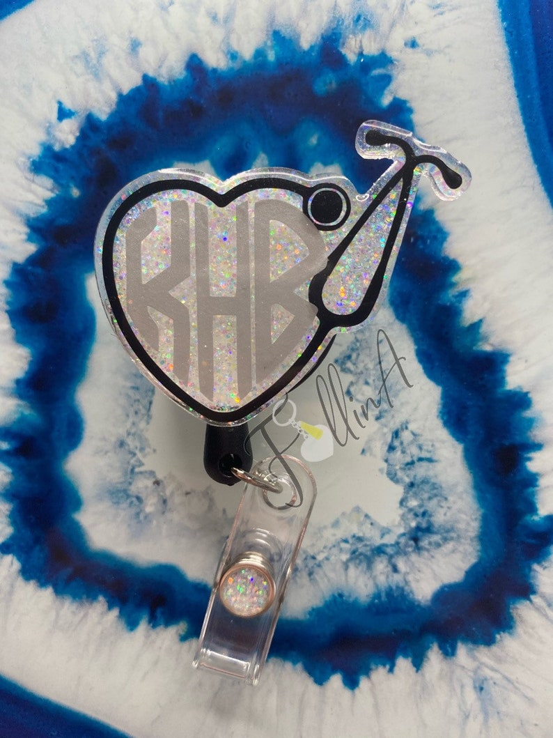 Nurse badge reel with monogram