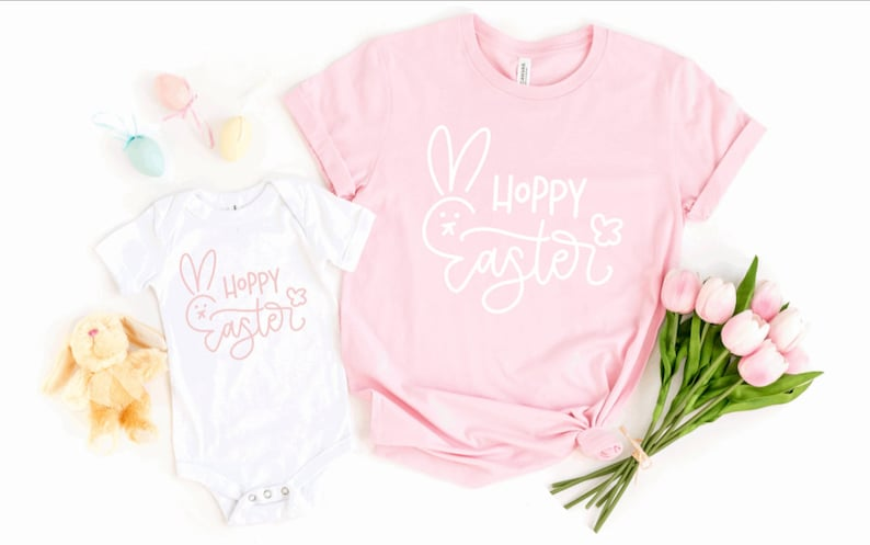 for ladies adult youth toddler infant Hoppy Easter bunny print Easter themed top t shirt or Onesie