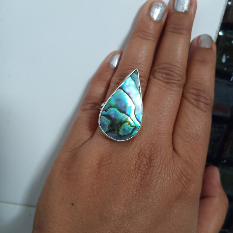 Natural Abalone Shell Ring,Silver Abalone Shell Ring Abalone Shell handmade Boho Ring,Abalone Shell Ring,Everyday Ring thanks giving gift