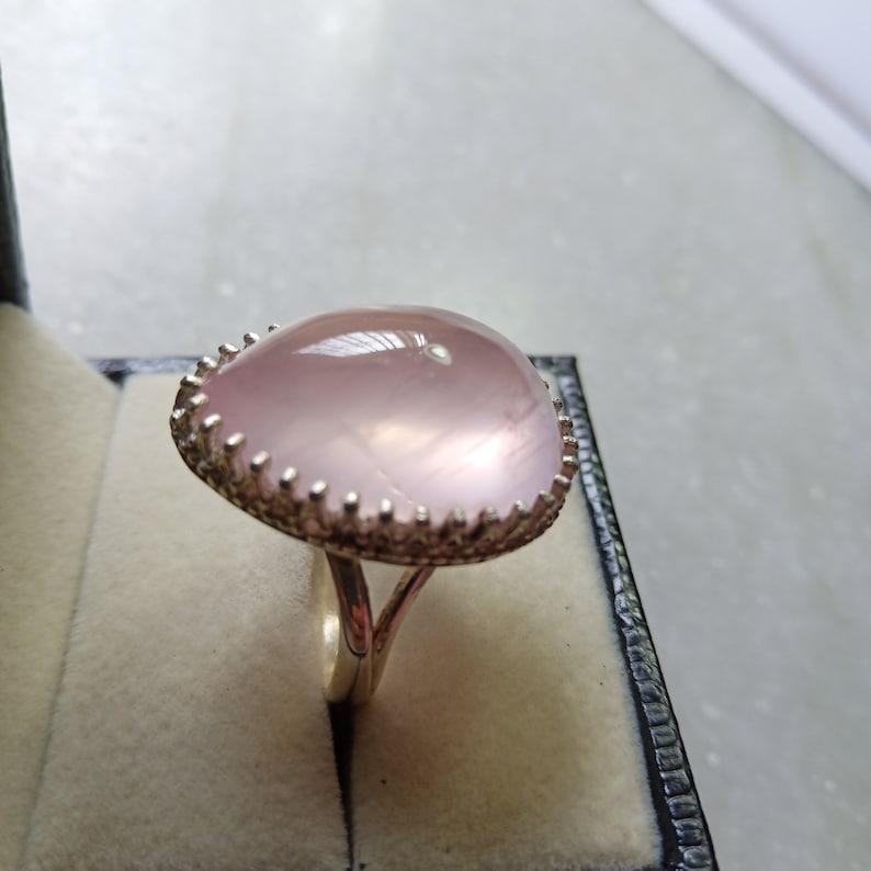 love stone,boho Statement ring,Rose Quartz Gemstone,engagement ring,gift her Rose Quartz Ring,Natural Pink quartz