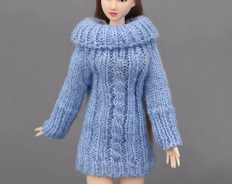 Handmade Knitted White For Barbie Sweater Dress With Cable Stitch For Barbie Dress For Barbie Sweater For Barbie Top For Barbie Casual Wear