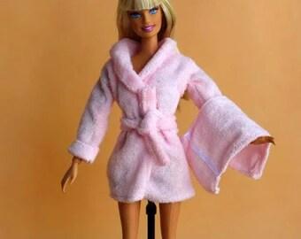 New Handmade Terrycloth For Barbie Bathrobe Set Robe Belt Towel Slippers 5 Pcs