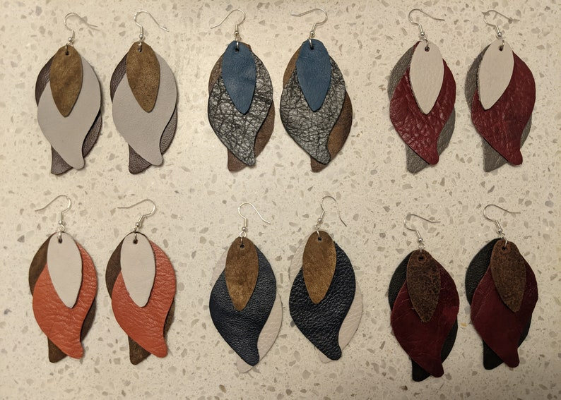 White Navy and Brown Feathered Earrings Genuine Leather Earrings Leather Jewelry Upcycled Earrings Layered Earrings