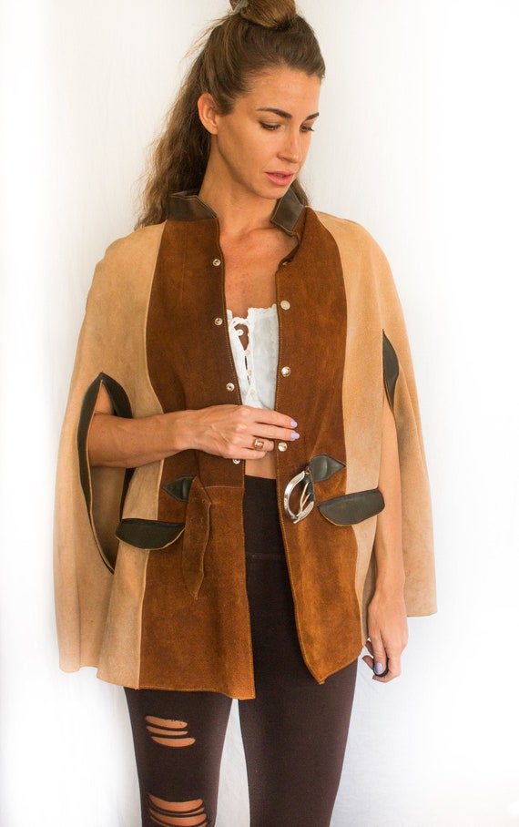 Vintage Two Tone Coffee Suede Cape