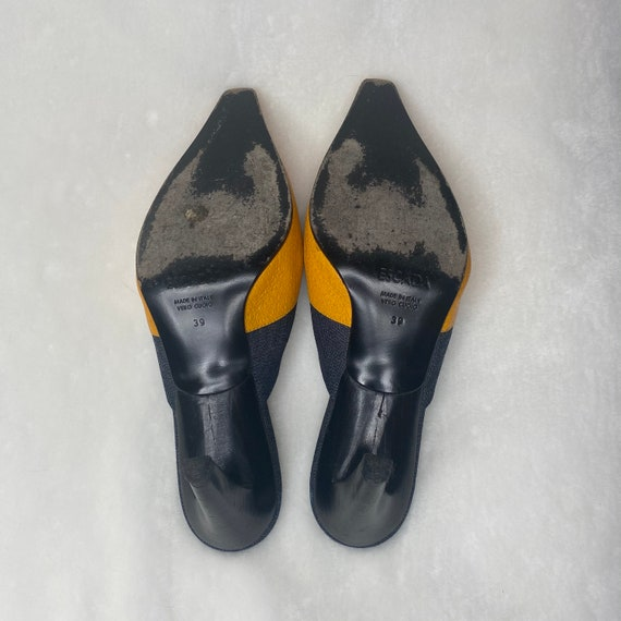 Vintage 90s Escada denim mules with leather appli… - image 5